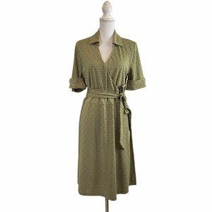 XL|TG JOE's Geometric Print Faux Wrap Belted Dress